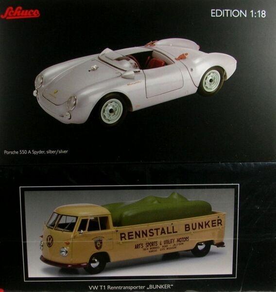 VW T1 argentoforma Rennstall Bunker con Porsche 550 a Spyder (argento)