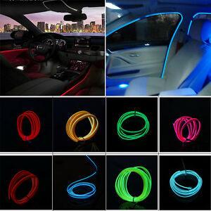 1-5m Flexible Car Neon Light Glow EL Wire Interior Atmosphere Lamp ...
