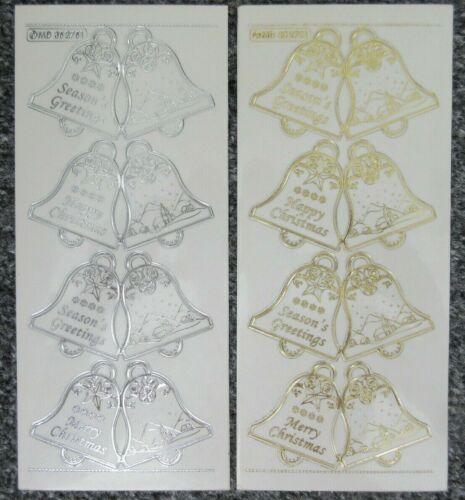 Carillón de Navidad Etiquetas De Regalo-Oro Plata Cardmaking Pelar Offs Pegatinas MD352751
