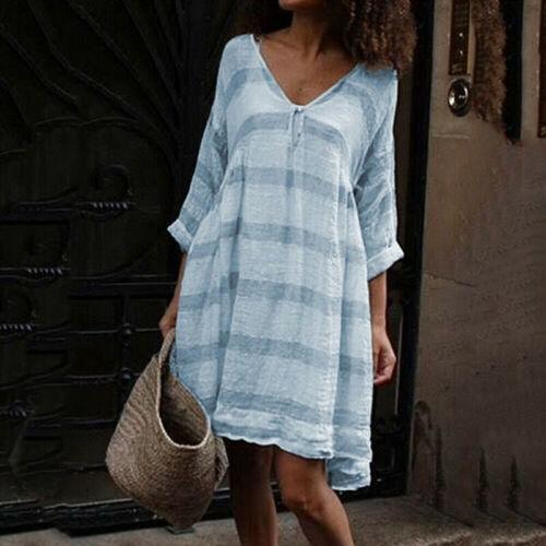 Damen Gestreifte lange Ärmel Baggy Minikleid Sommer Freizeit V-Ausschnitt Kleid