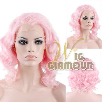 "Short Wavy 11"" Pink Lace Front Synthetic Wig Heat Resistant"