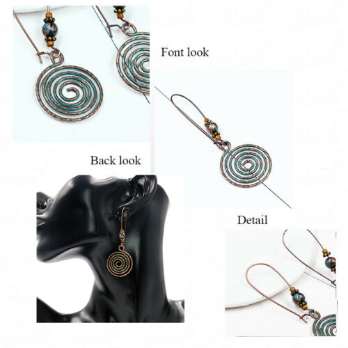 6.8*2cm Vintage Femmes Alliage Bronze Ear Hook Drop Dangle Boucle d/'oreille Bijoux Cadeau