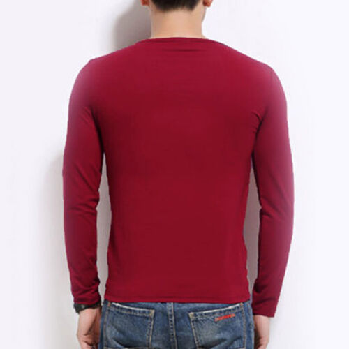 Mode Homme Pres Coupe Manches Longues T-Shirt Loisir Tops Pull Taille