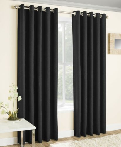 Black Vogue Thermal Blockout Lined Ready Made Eyelet Top Ring Top Curtains Pair