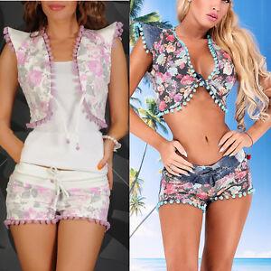 Damen Jeans 2 Teiler Hotpants Top Bolero Outfit Anzug Hose 34 40