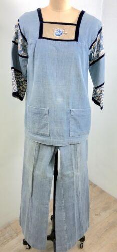 Vintage 70's Soft Denim & Velvet Wide Leg Jeans &