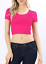 S-L Crop top scoop neck short sleeve fitted tee casual stretch cotton solid top