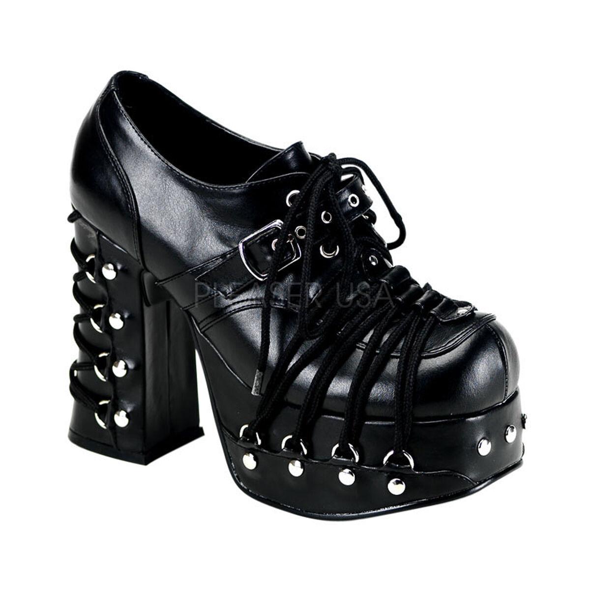 DEMONIA Goth CHA35/B/PU Punk Dark Goth DEMONIA Schuhes Lace Up Bondage Platform Oxfords Heels 2242a0