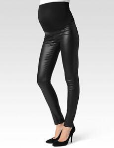 NWT Paige Denim Verdugo Ultra Skinny in Black Coated Stretch Maternity Jeans 34