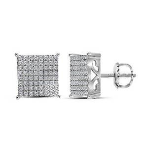 10kt-White-Gold-Womens-Round-Diamond-Square-Cluster-Stud-Earrings-1-00-Cttw