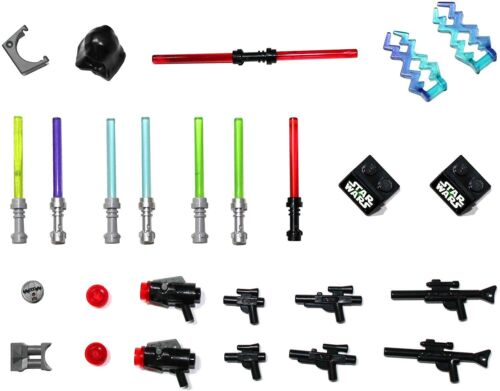 8 Lightsabers 8 Blasters /& much more! LEGO Star Wars Accessory /& Weapons Pack