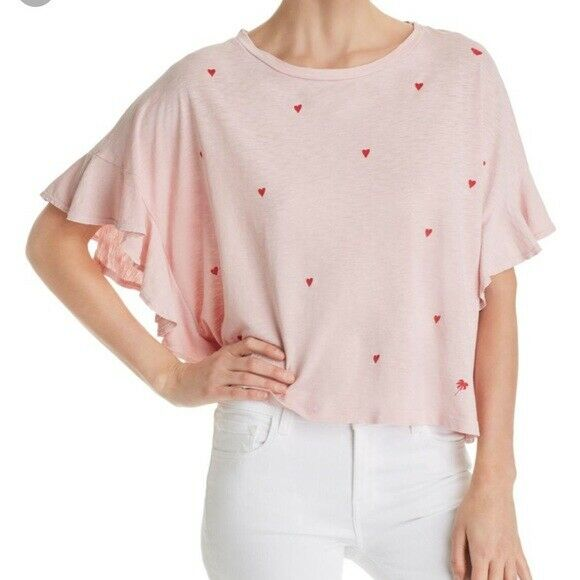 SUNDRY T Shirt FLUTTER TEE Boxy HEARTS Cotton Ruffle Rosa Top Raw Edges NWT