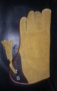 Falconry-Glove-Suede-Leather-Double-Layer-12-034-Long-Medium-Size-Golden-Yellow