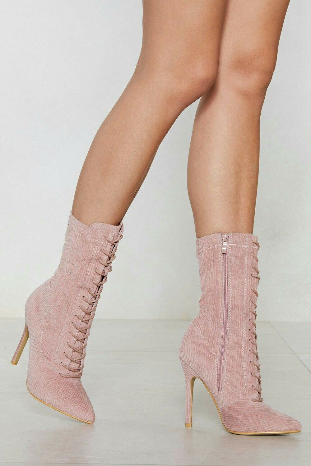Nasty Gal Gal Gal Corduroy Lace Up Stiletto Heel Calf Boots bluesh Pink Women's Size UK 3 6df4a1