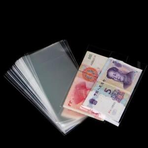 100PCS-fessional-Banknote-Sleeves-Paper-Money-Holder-Collection-Bag-6c-LZ