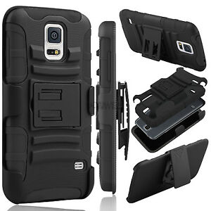Hybrid-Rubberized-Hard-Phone-Case-Belt-Clip-Holster-Stand-For-Samsung-Galaxy-S5