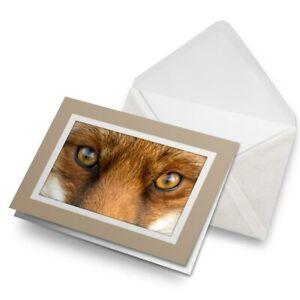 Greetings-Card-Biege-Beautiful-Fox-Eyes-Wild-Animal-Nature-8115