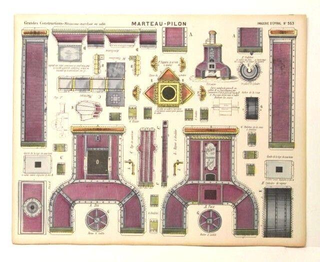 Imagerie d'epinal no 553 Martillo-Pilon grandes construcciones papel de Juguete Modelo