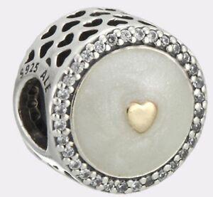New-Genuine-Silver-PANDORA-Enamel-amp-Gold-Precious-Heart-Charm-792073EN23-RRP-65