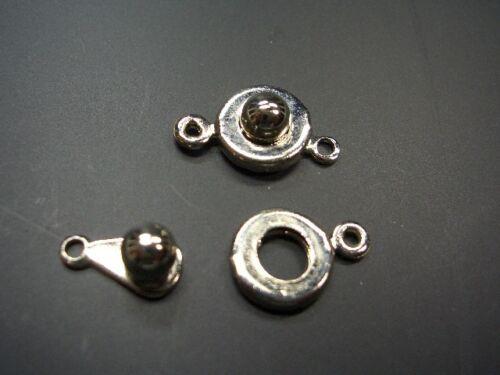 2 click its chiusure Argentato Perle 9,5mm NUOVO 519