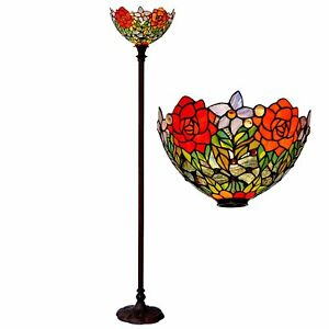 Bieye 15 Inches Rose Tiffany Style Stained Glass Torchiere Floor