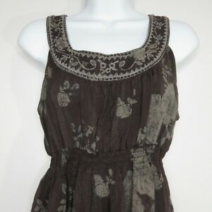 Mine-Anthropologie-Sleeveless-Embroidered-Tunic-Dress-Top-Womens-L-Gray-Floral