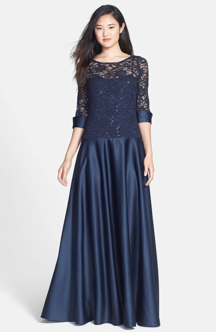 JS COLLECTIONS Navy bluee Sequin Lace Satin A-Line A-Line A-Line Skirt Boutique Gown Dress 12 19b5f0