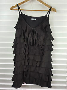 AJE. sz 10 womens black silk ruffle mini dress / Tunic top rrp$500+ [#2026]