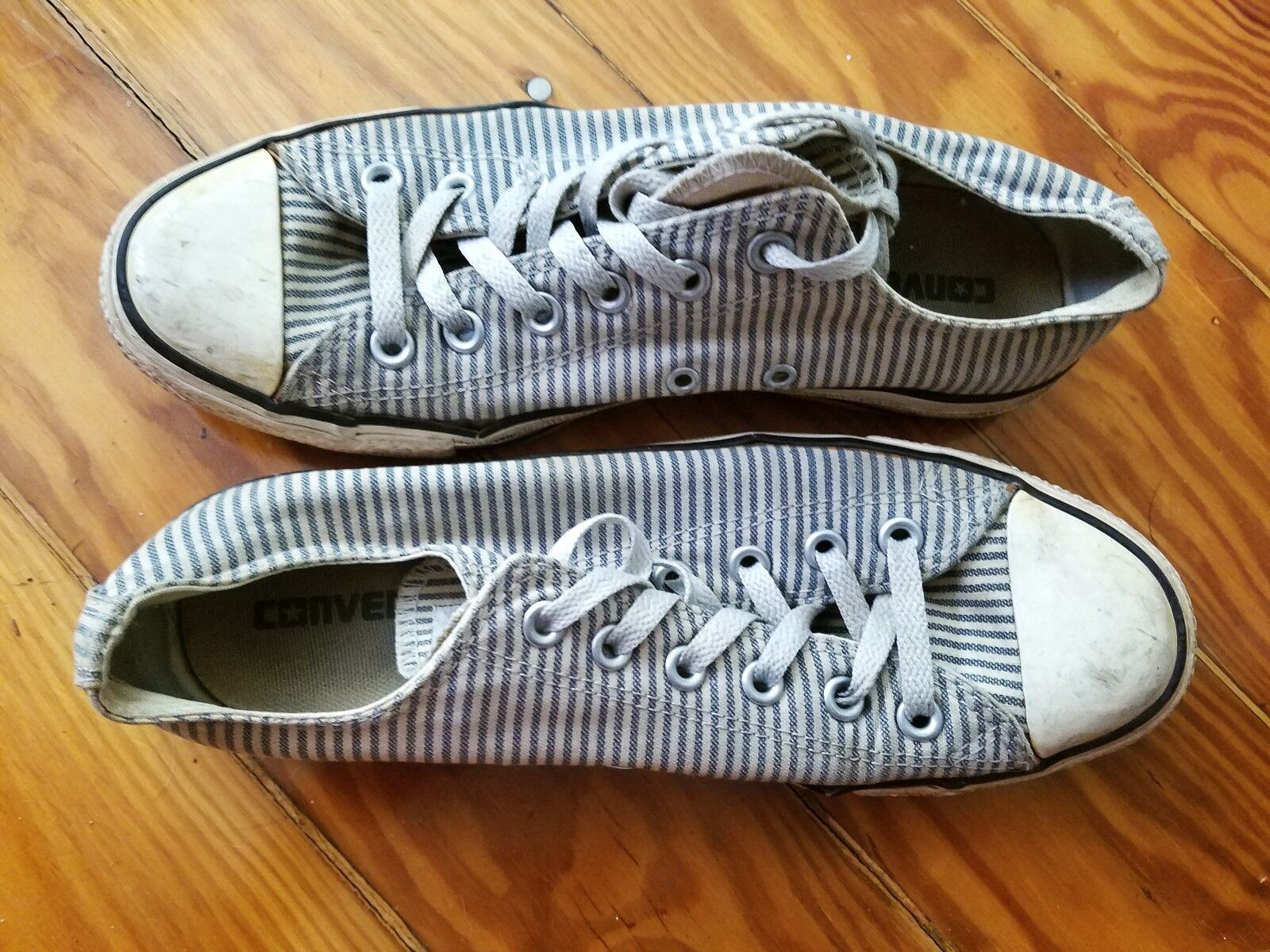 VTG Converse All Star Denim Blue Striped Canvas Low Top Shoes Women 9.5 Men 7.5