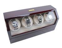 Heiden Quad 4 Watch Winder - Cherry Wood Display Top / 4 Settings Model Hd015