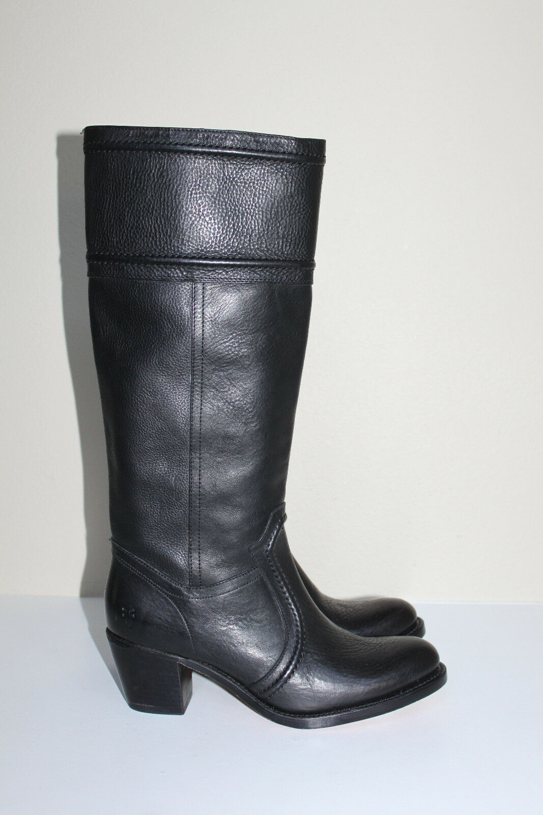 New sz 9.5 Frye Jane 14 Black Leather Riding Tall Pull On Boot Heel Shoes
