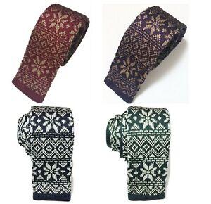 Men S Fashion Christmas Xmas Snowflake Knit Knitted Tie Slim Woven Uk Ebay