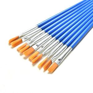 10 Set Paint Brush Set New Nylon Blue Brush Kid Watercolor Drawing Painting KQ