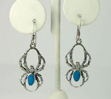 Vintage Sterling Silver Oval Turquoise Tarantula Spider Drop Dangle Earrings