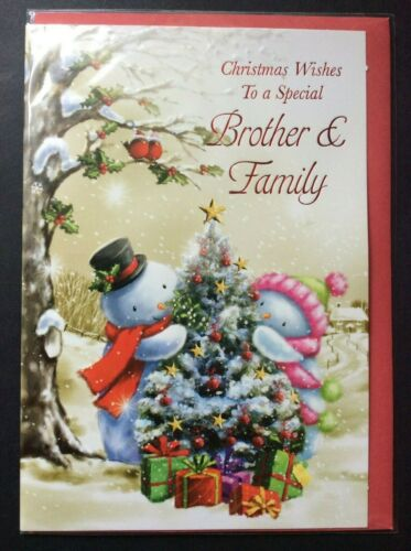 """F15//IB06 BROTHER AND FAMILY PARTNER CHRISTMAS CARD 7.5/""""X5.5/"""" RRP £2"""