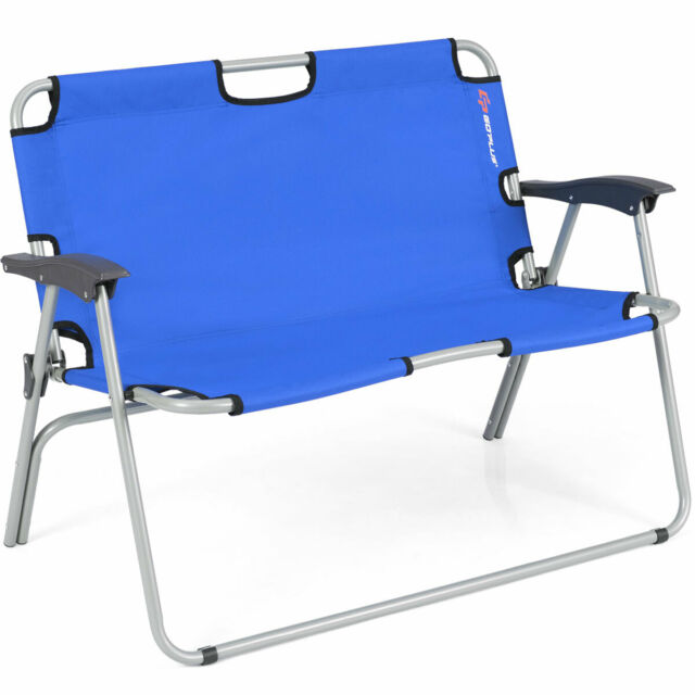 Pleasant Portable Double Chair 2 Person Folding Camping Bench Loveseat Fabric Aluminum Theyellowbook Wood Chair Design Ideas Theyellowbookinfo