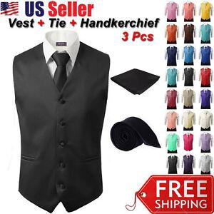 3Pcs-SET-Men-039-s-Formal-Vest-Slim-Tie-Hankie-Causal-Fit-Tuxedo-Suit-Waistcoat-Coat