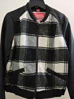 Nwt-$77-collection By Bernardo Poly Blend Grey/black Plaid Faux Leather Jacket-l