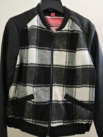 Nwt-$77-collection By Bernardo Poly Blend Grey/black Plaid Faux Leather Jacket-l