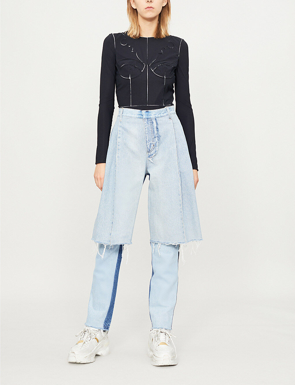 KSENIA SCHNAIDER Reworked Demi Denims Wide-Panel Straight High-Rise Jeans - S
