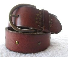 VG+ GORGEOUS AEROPOSTALE STUDDED BROWN LEATHER BELT - S
