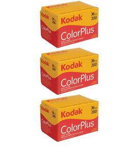 3 Rolls Kodak Color Plus 200 asa 36 Exp 35mm ColorPlus Film, Fresh