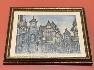 Framed Vintage Maurice Legendre ROTHENBURG o.d.T  PLONLEIN Lithograph 8X6.5