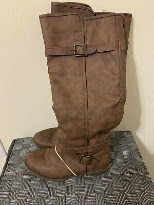 Just Fab Lisandra Knee High Womens Boots Cognac (Brown) Size 7.5 | eBay