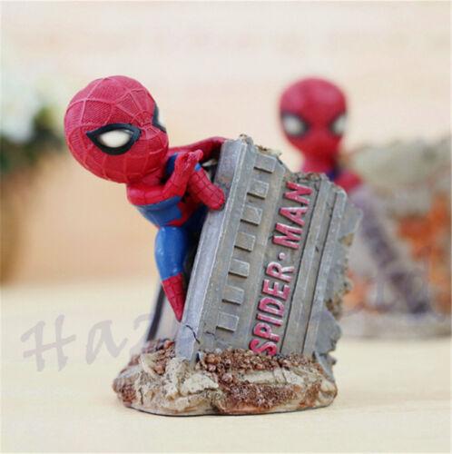 Super Hero Spider-Man Pen Holder Resin Desk Decor Action Figure Christmas Gift