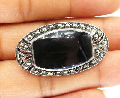 Vintage Oval Black Onyx Marcasite Elegant Design Brooch 925 Sterling Silver BB 1753