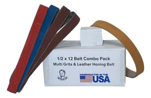 1//2 x 12 Replacement Belt Pack with Leather Honing Belt-Fits Original WorkSharp