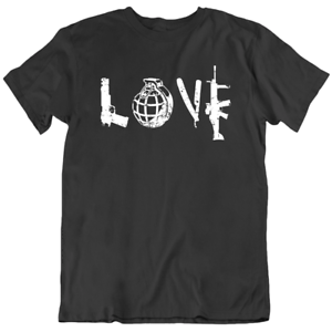Love Guns Riffle Bullets Military Bomb Funny T Shirt Mens Tee Gift New From US