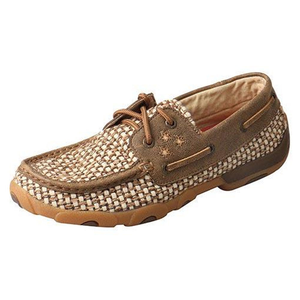 WDM0110 Twisted X Damens's Driving Moccasins with Stars – Bomber/Ivory NEW