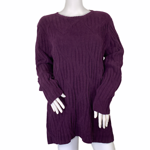 J. Jill Chenille Plum Purple Soft Cable Knit Crew Neck Chunky Sweater Size Large